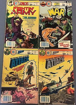 ATTACK WAR FIGHTIN' ARMY lot (4) issues as shown (1981/1982) Charlton Comics VG+