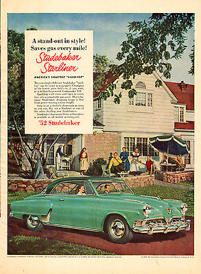 1952 Classic Car AD '52 STUDEBAKER Starliner green hardtop 2 tone green 060715