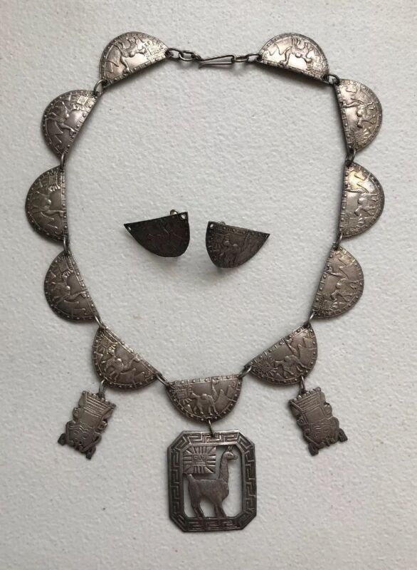 RARE Vintage PERU 925 Sterling Silver Collar Necklace & Earring Set
