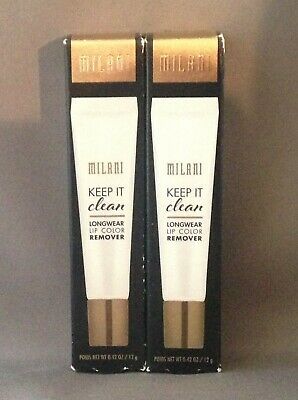 LOT OF 2 - MILANI KEEP IT CLEAN LONGWEAR LIP COLOR REMOVER 0.42 OZ - BRAND NEW