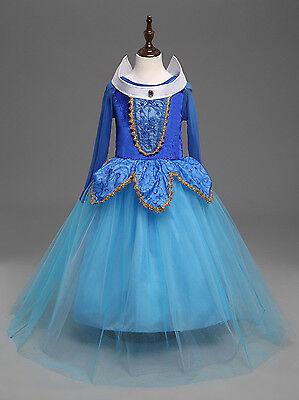 Sleeping Beauty Princess Aurora Party Dress  kids Costume Dress for girls  Blue