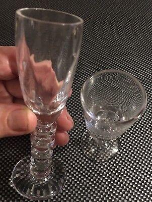 2 Mini BRANDY SHOT GLASSES  Long STEM Two Different Cute Glasses ()