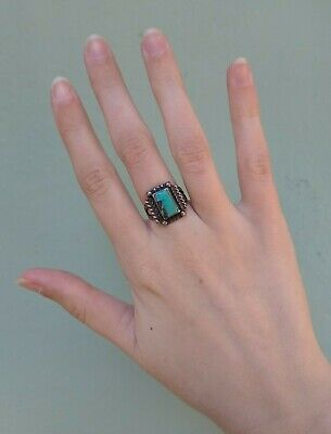1940s Jewelry Styles and History VINTAGE 1940S NAVAJO INDIAN SILVER RECTANGLE TURQUOISE RING SIZE 5 $125.00 AT vintagedancer.com