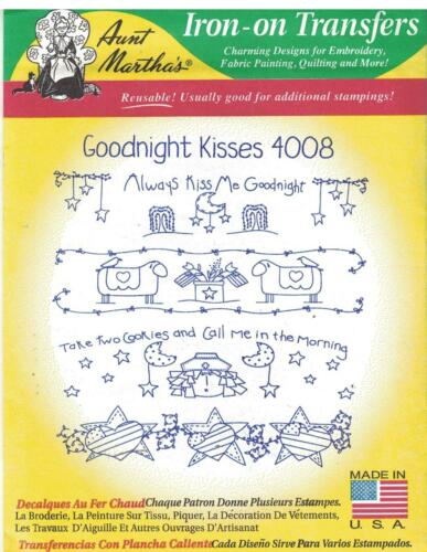 Aunt Martha Embroidery Hot Iron Transfer Pattern 4008 Goodnight Kisses
