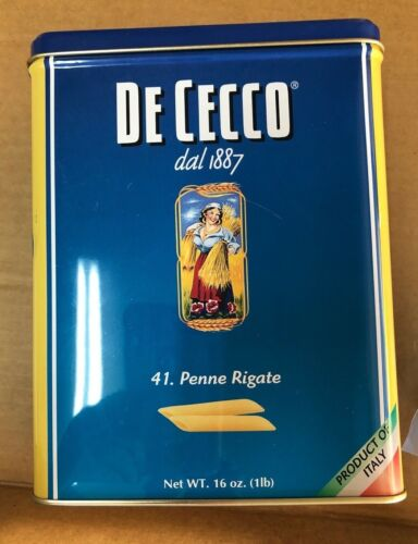Vintage De Cecco dal 1887 41. Penne Rigate Tin Container Italy advertising pasta