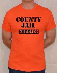 COUNTY-JAIL-prision-halloween-disfraz-Divertido-Naranja-Camiseta