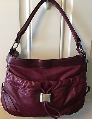 B. MAKOWSKY BURGUNDY/WINE LEATHER HANDBAG LG.SATCHEL SHOULDER ZIP EXCELLENT
