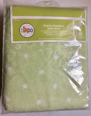 Brand New Circo Super Soft Fleece Baby Changing Pad Cover Green with Dots