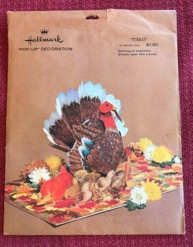 Vintage HALLMARK THANKSGIVING TURKEY Pop-up Centerpiece Display w/ Orig. Package