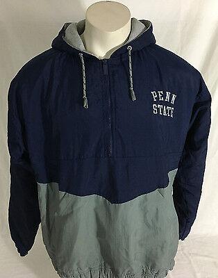 Vintage Penn State Nittany Lions Hooded Half-Zip Green and Blue Men's Medium