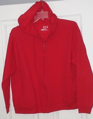 *JUST FOR HER BY FRUIT OF THE LOOM SWEATSHIRT JACKET SIZE L RED HOOD NWT
