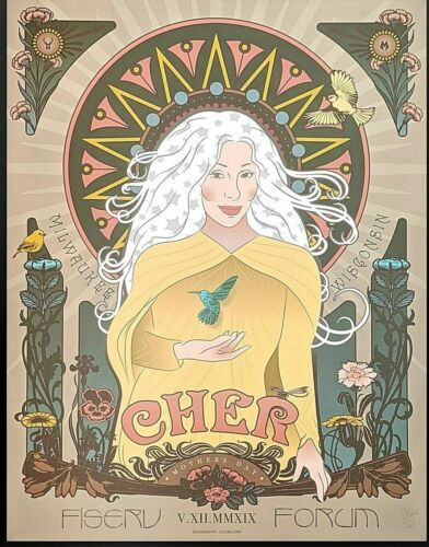 💋  CHER Milwaukee WI May 12th 2019 SCREEN PRINT CONCERT POSTER SIGNED AP #/65