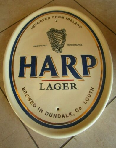 Rare Harp Lager Ireland White China Glass Beer Sign
