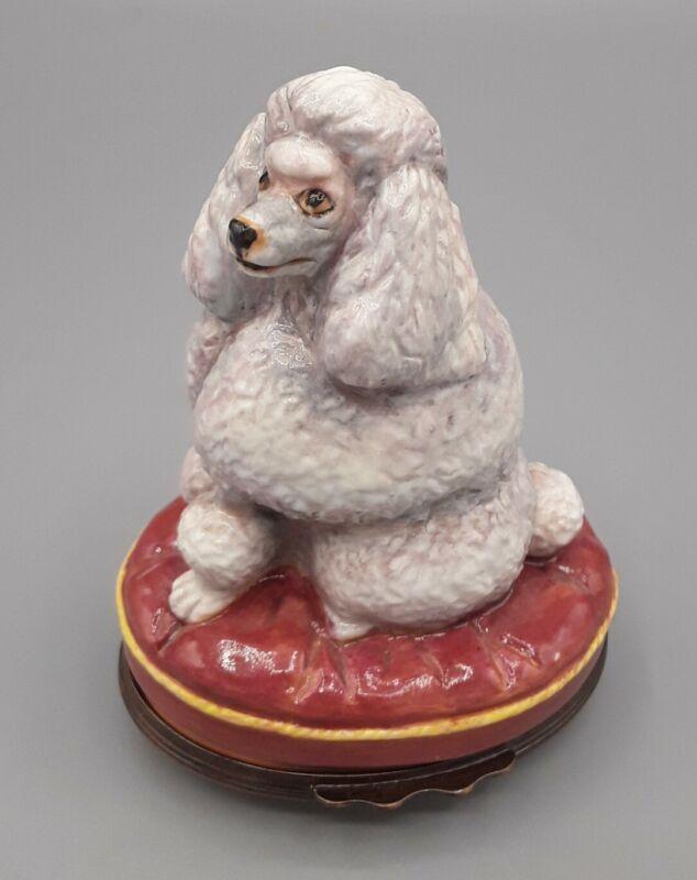 Halcyon Days Enamel Trinket Box London Standard White Poodle Dog