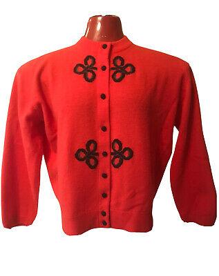 Vintage Ballantyne Cardigan Sweater SMALL Red Black Pure Cashmere Scotland 3/4