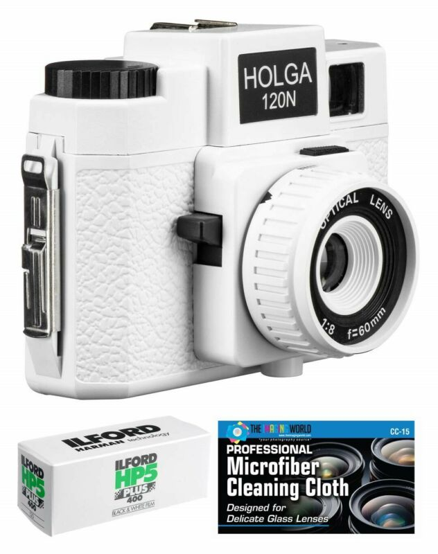 Holga 120N Medium Format Film Camera (White) with Ilford HP5 120 Film Bundle