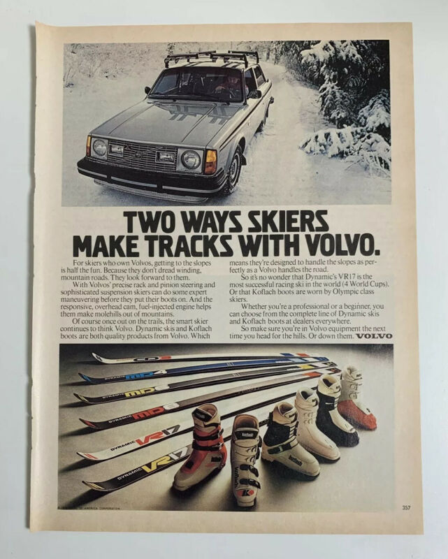 1979 Volvo Print Ad Two Ways Skiers Make Tracks With Volvo Dynamic Koflach Boots