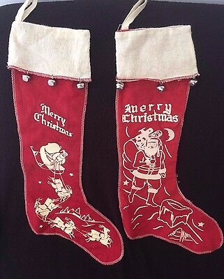 RARE VINTAGE 1950's RED FELT WHITE STENCILED CHRISTMAS STOCKING'S  SANTA ANTIQUE