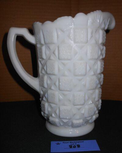 Vintage Large Westmoreland Milk Glass Old Quilt Pattern Drink Pitcher