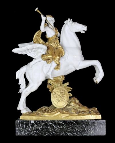 FINE DORE BRONZE AND BISQUE EQUESTRIAN Figure