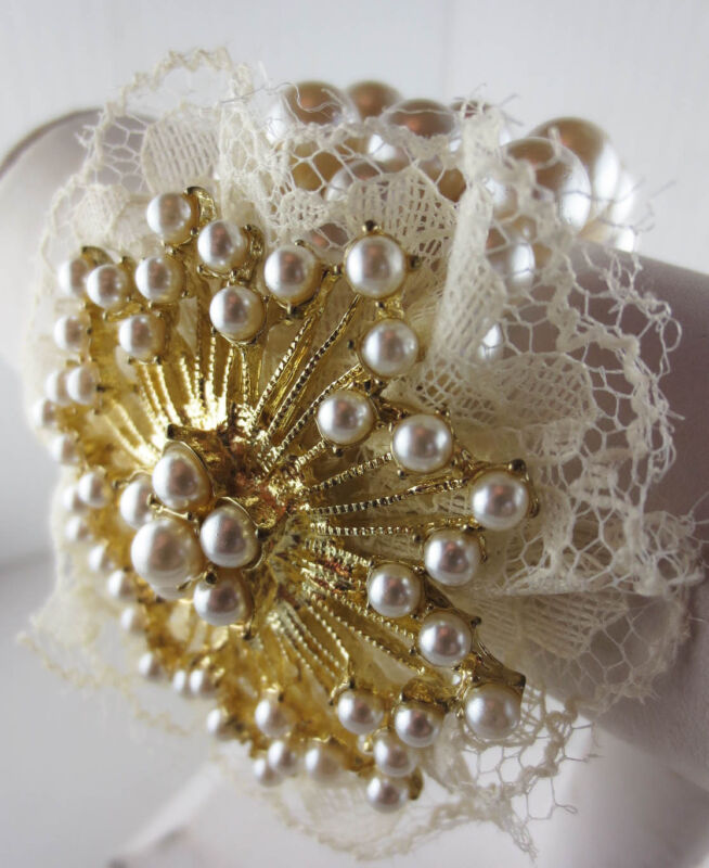Vintage Style Faux Pearl Goldtone Lace Flower Wide Bracelet