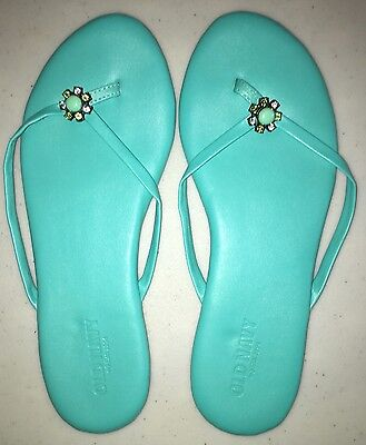 Old Navy Ladies Dressy Flip Flops, Turquoise with Stone Flower, Size 8