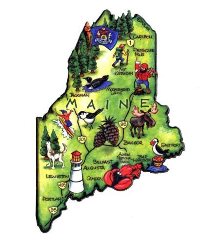 Maine The Pine Tree State Artwood Jumbo Fridge Magnet