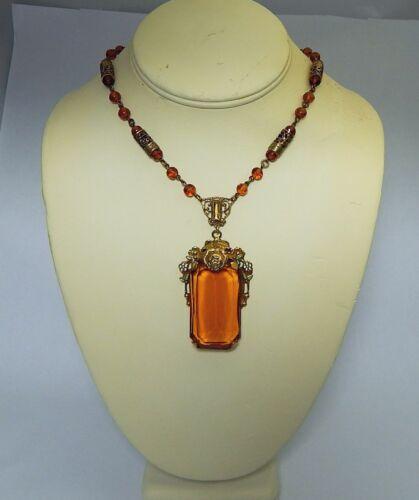 Czech Pendant Necklace Huge Amber Topaz Color Jewel Enamel Flowers Free Ship