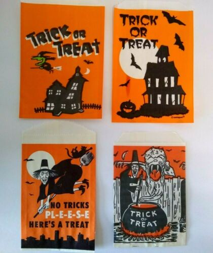 Vintage Halloween Trick Or Treat Candy Goodie Loot Bags Green Face Witch Goblins