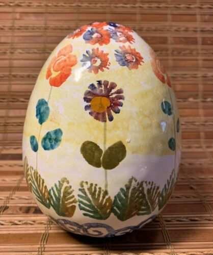 """Hand Painted Ceramic Egg Floral Flowers Italy 6"""" High Home Decor Easter Spring"""