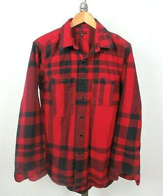 ENGINEERED GARMENTS L/S Sz M Cotton Flannel Red Black Buffalo Plaid Shirt USA