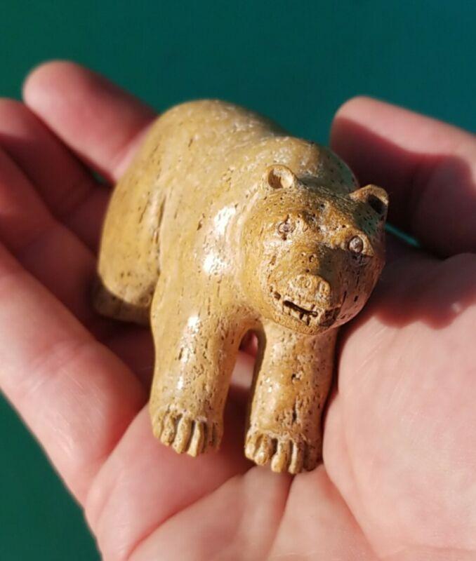 Vtg Inuit Eskimo Native Hand Carved Fossilized