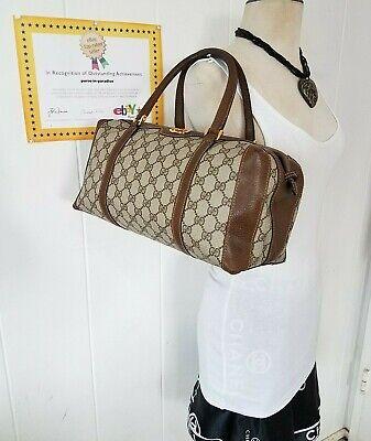 Vintage Gucci Satchel Bag Purse GG Monogram Web Auth. PVC, vinyl Leather 70s