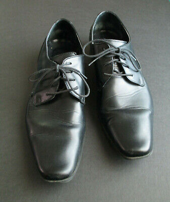 Calvin Klein Brodie Men's Size 9.5 Black Dress Shoes Leather Burnished Oxfords