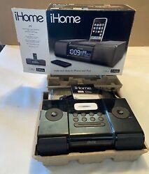 iHome iP9 Black Apple iPhone iPod 30 Pin Speaker Dock Alarm Clock Radio Brnd NEW