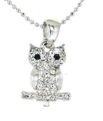 NWT OWL CHARM CRYSTAL PENDANT SILVER CHAIN NECKLACE NEW