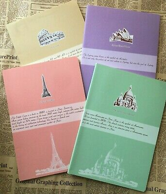 World travel B5 Lined Notebook Diary Writing Journal France Italy Vintage style