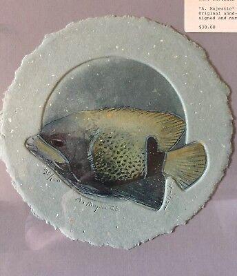 Majestic Angel Fish - Mary E Davidson A Majestic Angelfish Original Etching Painting Handsigned Lmtd