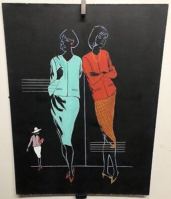 Original Vintage Illustration Fashion Art 1960's Gouache Awesome Design Piece