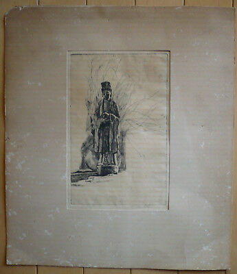 ARTHUR MILLIER, Rare LISTED CA CALIFORNIA, ASIAN Chinese Figure, SIGNED ETCHING