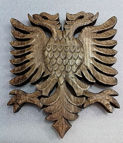 VINTAGE NEW WOOD CARVING HANDCRAFTED ALBANIAN,KOSOVA EAGLE-HANGING-CUTE