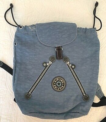Vintage KIPLING Blue Drawstring Flap Light Backpack From 1990's