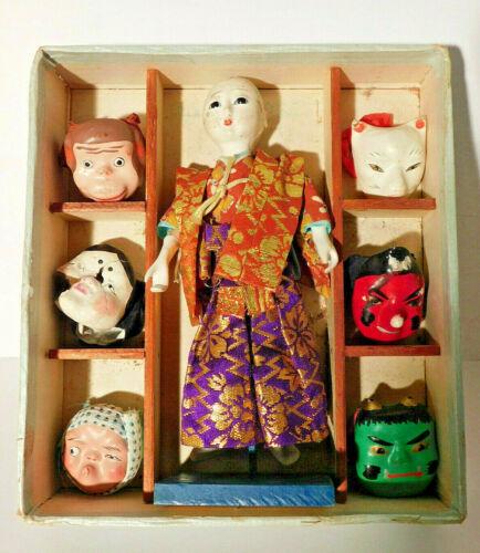 "Vtg. Japanese Traditional Mask Dance Doll Set 6 1/4"""