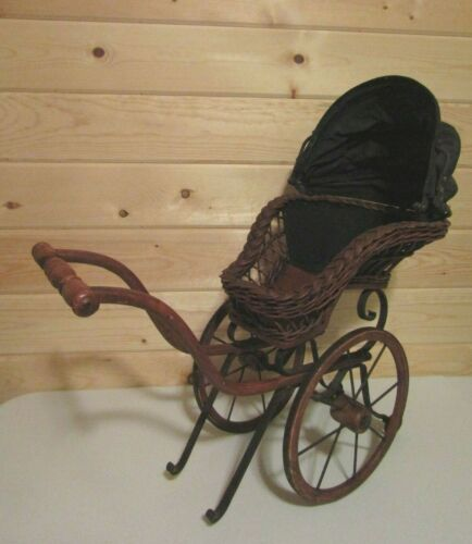Vintage Wicker Wood Canvas Pram Doll Baby Carriage Buggy Stroller
