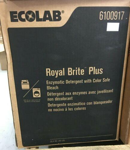 Ecolab 6100917 Royal Brite Plus Enzymatic Detergent W/ Color Safe Bleach 45lbs