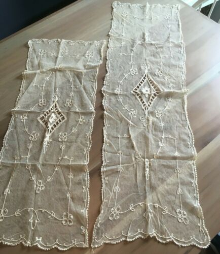 2 LOVELY ANTIQUE FRENCH TAMBOUR NET LACE DRESSER SCARF