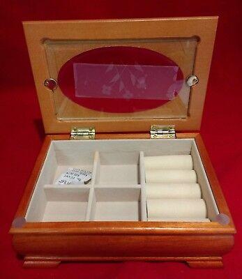 Jewelry Box Storage Case with Mirror Light Oak Finish-New