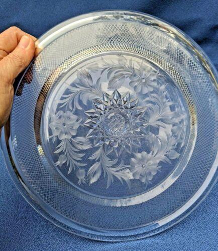 """Unusual 9""""  Cut Glass Plate ABP Intaglio & Geometric Cutting High Quality Blank"""