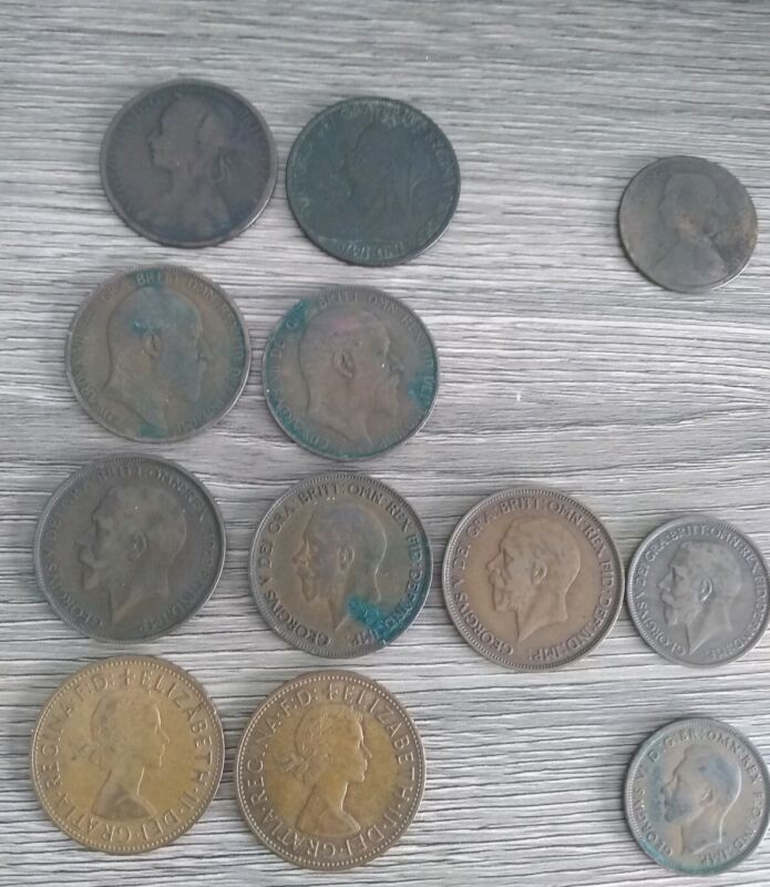 (12) Great Britain Penny and Half Penny Lot - Rare 1860 and 1881-H