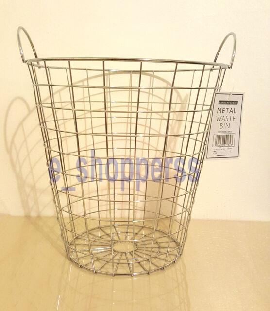 Wire Waste Basket metal waste bin storage basket with handles geometric wire